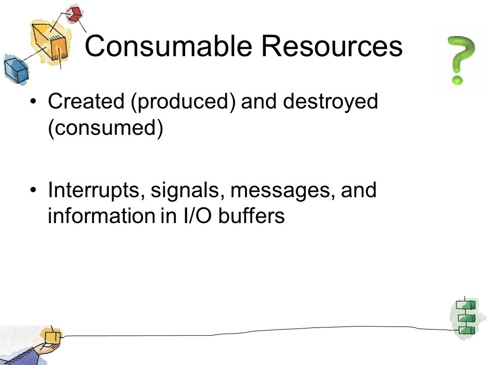 Consumable Resources Created (produced) and destroyed (consumed) Interrupts, signals, messages, and information in I/O buffers