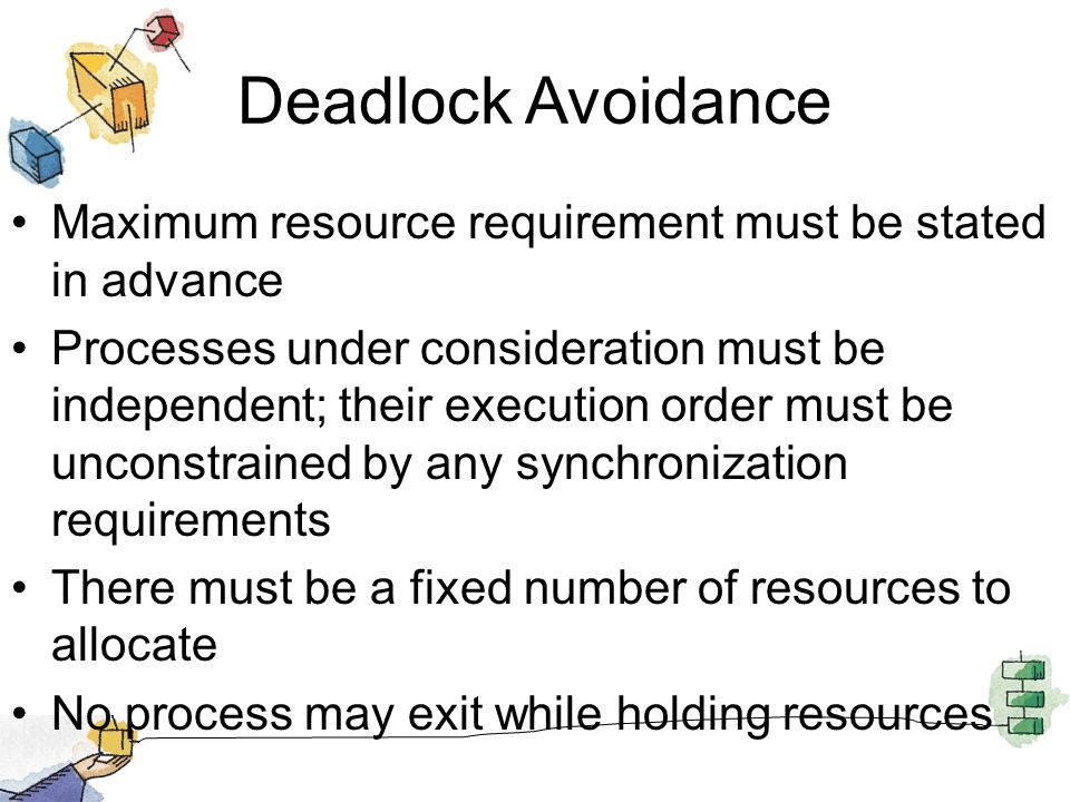 Deadlock Avoidance Maximum resource requirement must be stated in advance Processes under consideration must be independent; their execution order must be unconstrained by any synchronization requirements There must be a fixed number of resources to allocate No process may exit while holding resources