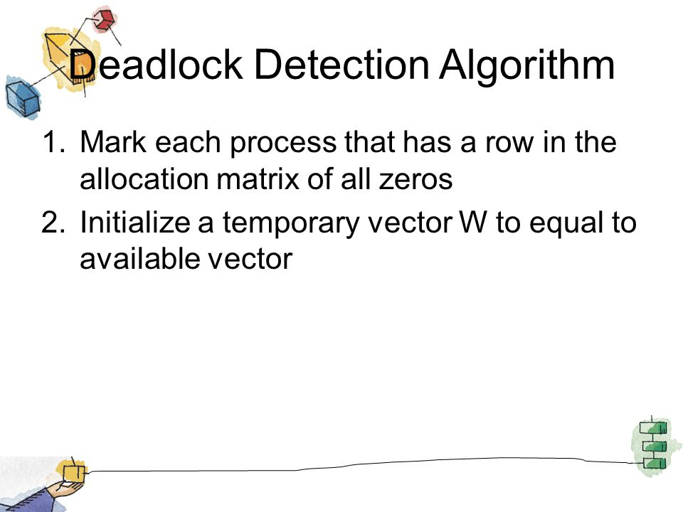 Deadlock Detection Algorithm 1.Mark each process that has a row in the allocation matrix of all zeros 2.Initialize a temporary vector W to equal to available vector