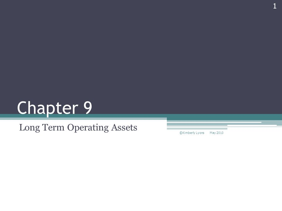 Chapter 9 Long Term Operating Assets May 2010 ©Kimberly Lyons 1