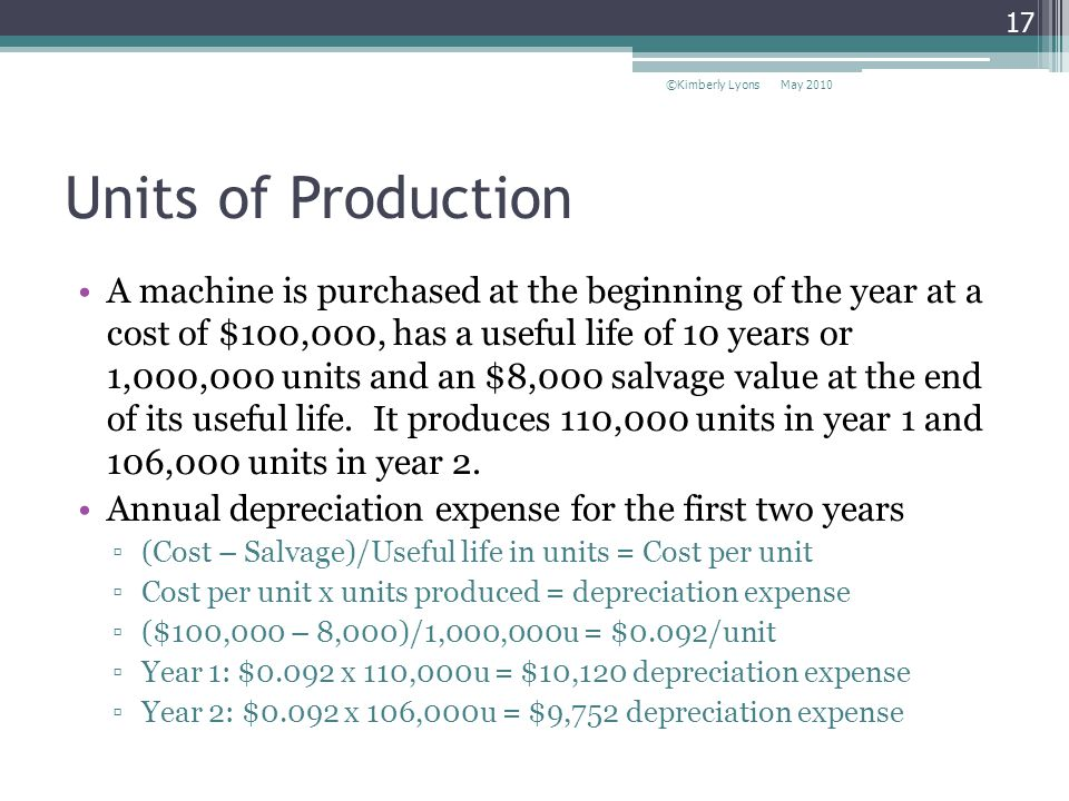 Units of Production A machine is purchased at the beginning of the year at a cost of $100,000, has a useful life of 10 years or 1,000,000 units and an $8,000 salvage value at the end of its useful life.