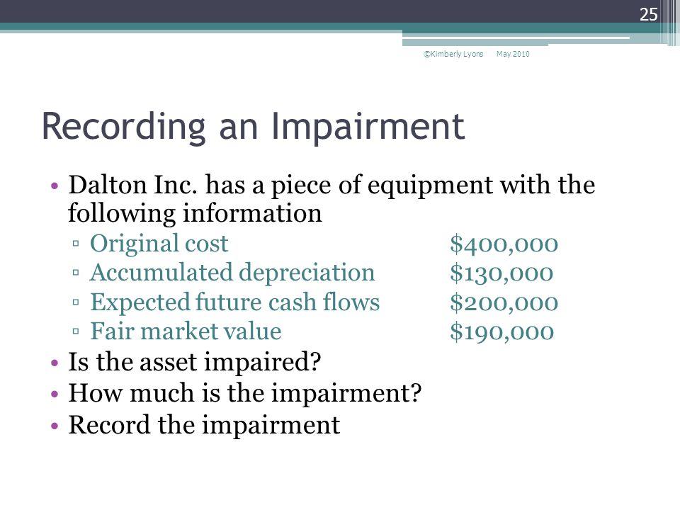 Recording an Impairment Dalton Inc.