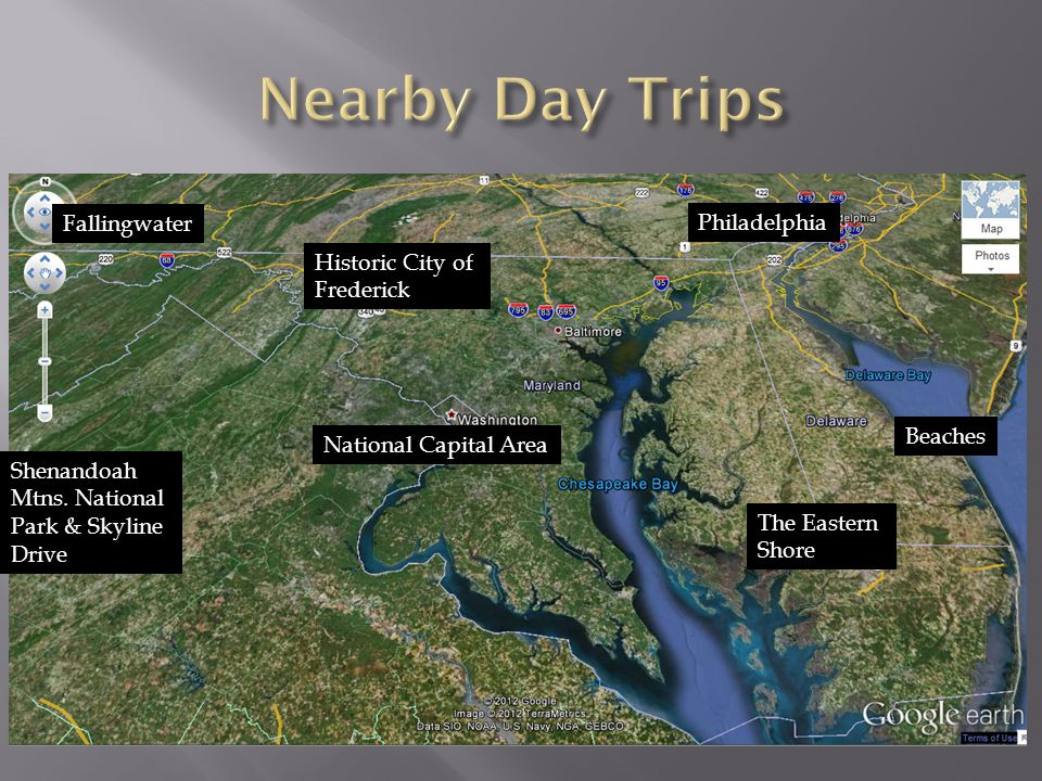 Beaches The Eastern Shore National Capital Area Historic City of Frederick Shenandoah Mtns.