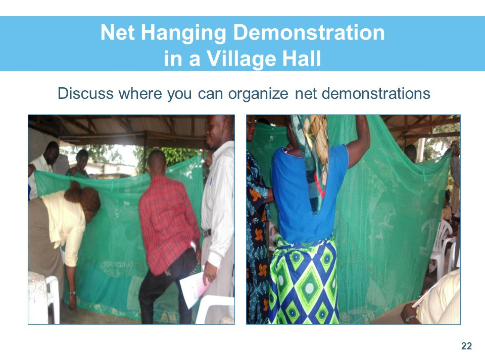 Net Hanging Demonstration in a Village Hall Discuss where you can organize net demonstrations 22