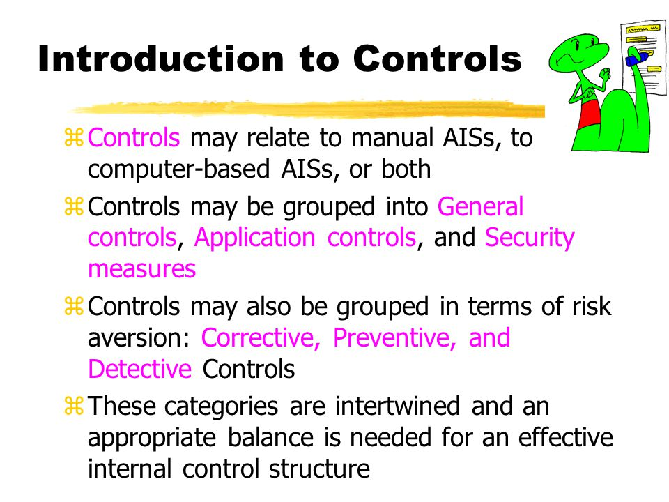 Output Controls zOutputs should be complete and reliable and should be distributed to the proper recipients zTwo major types of output controls are: yvalidating processing results yregulating the distribution and use of printed output