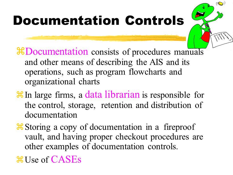 System Standards Documentation zSystems development policy statements zProgram testing policy statements zComputer operations policy statements zSecurity and disaster policy statements