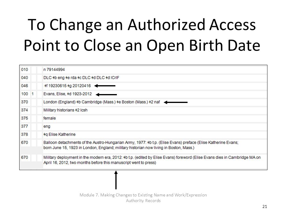 21 To Change an Authorized Access Point to Close an Open Birth Date Module 7. Making Changes to Existing Name and Work/Expression Authority Records
