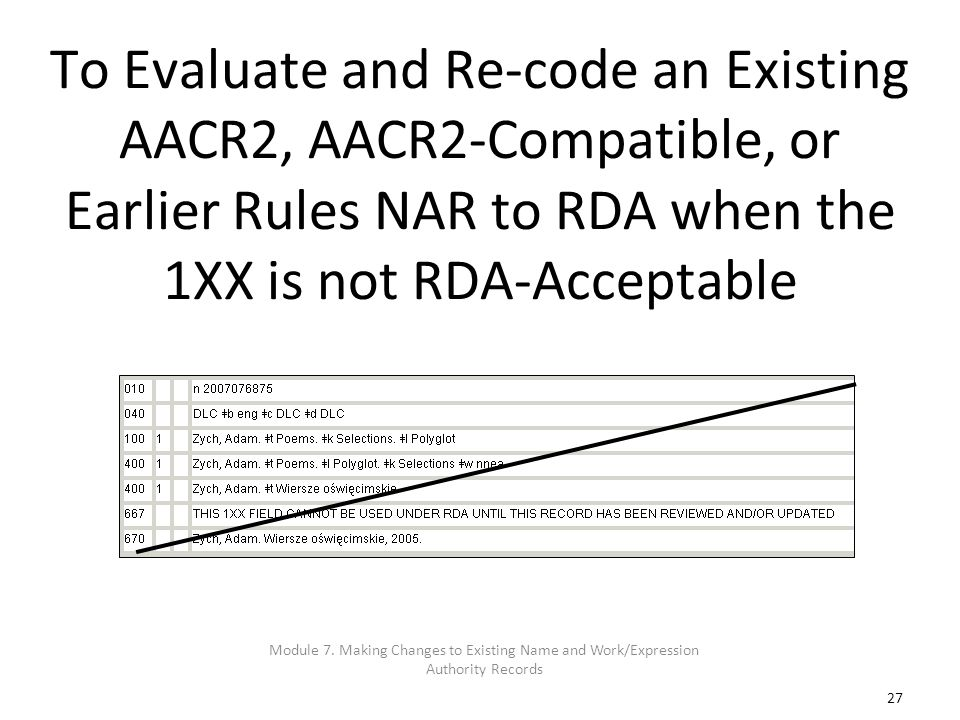 27 To Evaluate and Re-code an Existing AACR2, AACR2-Compatible, or Earlier Rules NAR to RDA when the 1XX is not RDA-Acceptable Module 7. Making Change