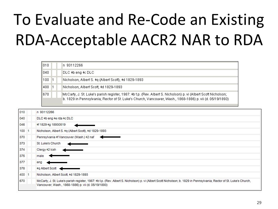 29 To Evaluate and Re-Code an Existing RDA-Acceptable AACR2 NAR to RDA