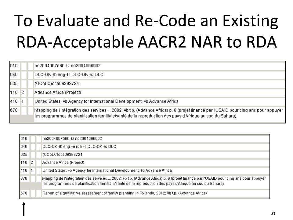 31 To Evaluate and Re-Code an Existing RDA-Acceptable AACR2 NAR to RDA