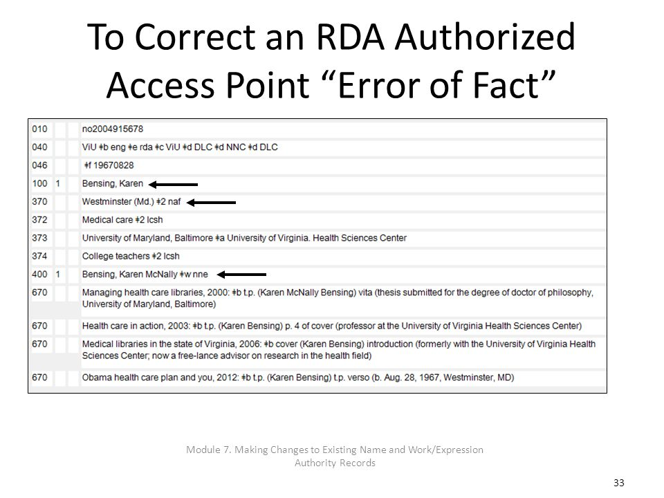 33 To Correct an RDA Authorized Access Point Error of Fact Module 7. Making Changes to Existing Name and Work/Expression Authority Records