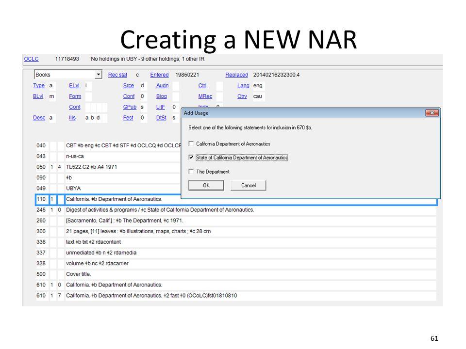 61 Creating a NEW NAR