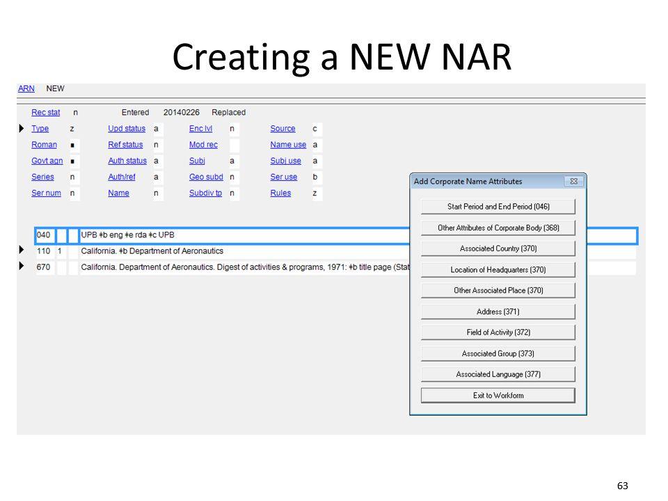 63 Creating a NEW NAR