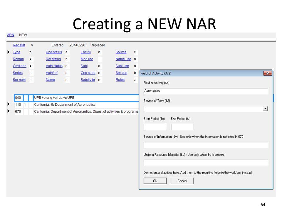 64 Creating a NEW NAR