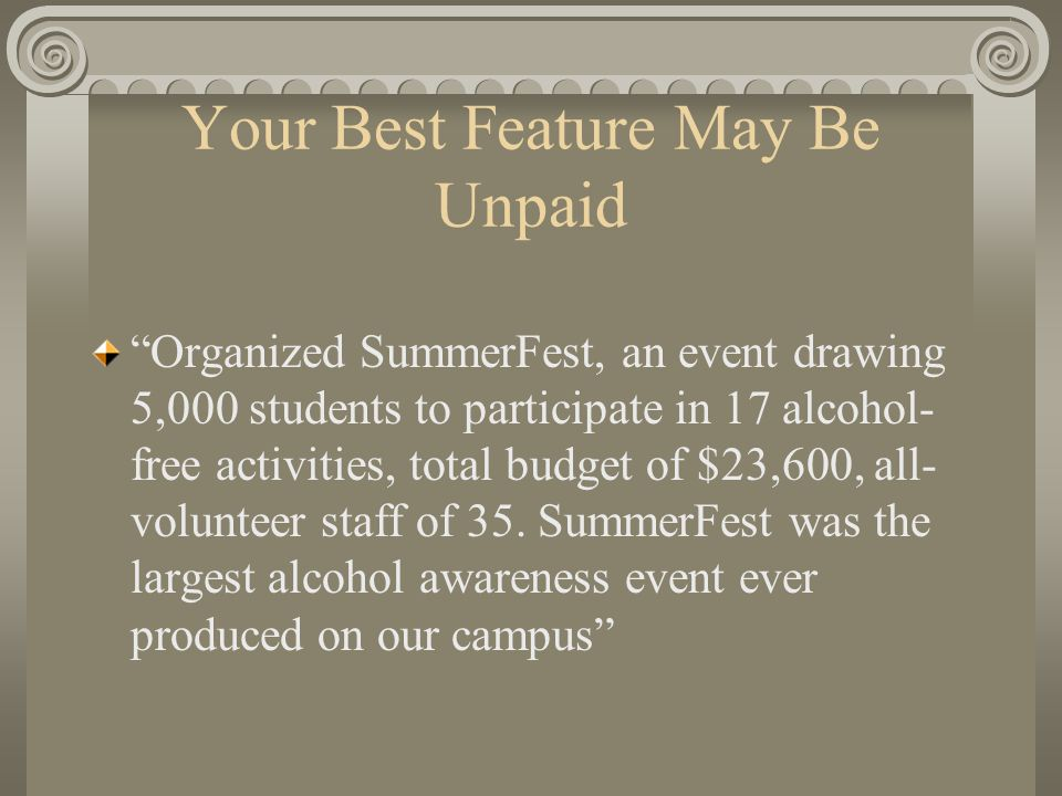 Your Best Feature May Be Unpaid Organized SummerFest, an event drawing 5,000 students to participate in 17 alcohol- free activities, total budget of $23,600, all- volunteer staff of 35.