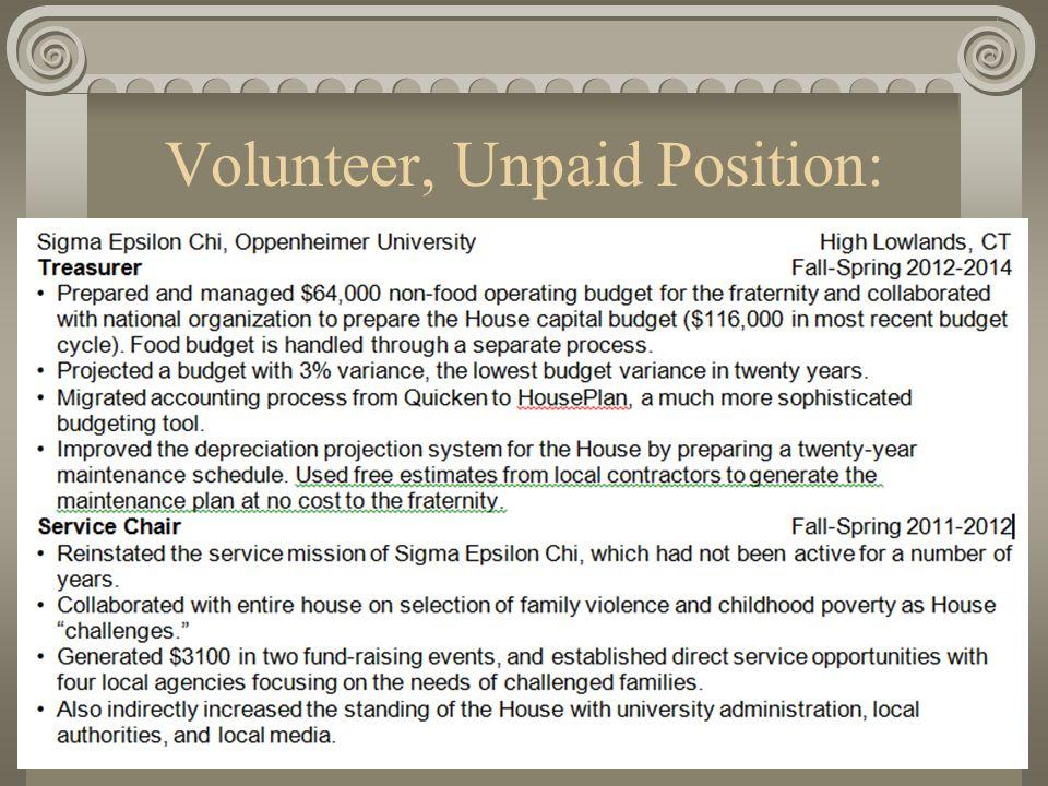 Volunteer, Unpaid Position: