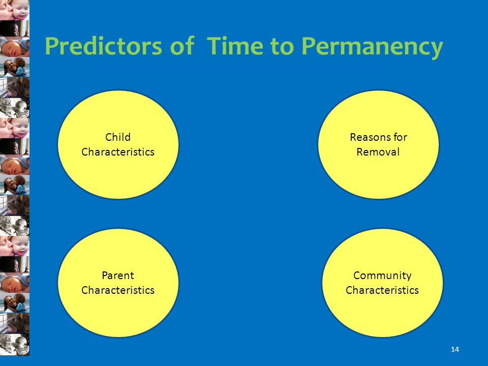 Predictors of Time to Permanency Reasons for Removal Community Characteristics Child Characteristics Parent Characteristics 14