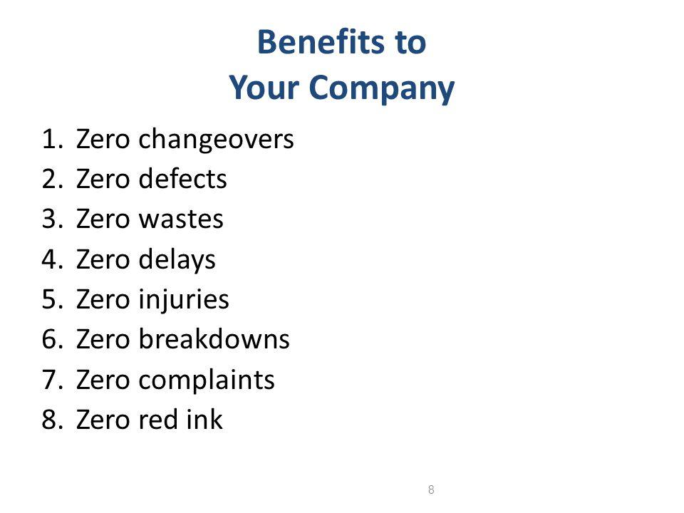 8 Benefits to Your Company 1.Zero changeovers 2.Zero defects 3.Zero wastes 4.Zero delays 5.Zero injuries 6.Zero breakdowns 7.Zero complaints 8.Zero re