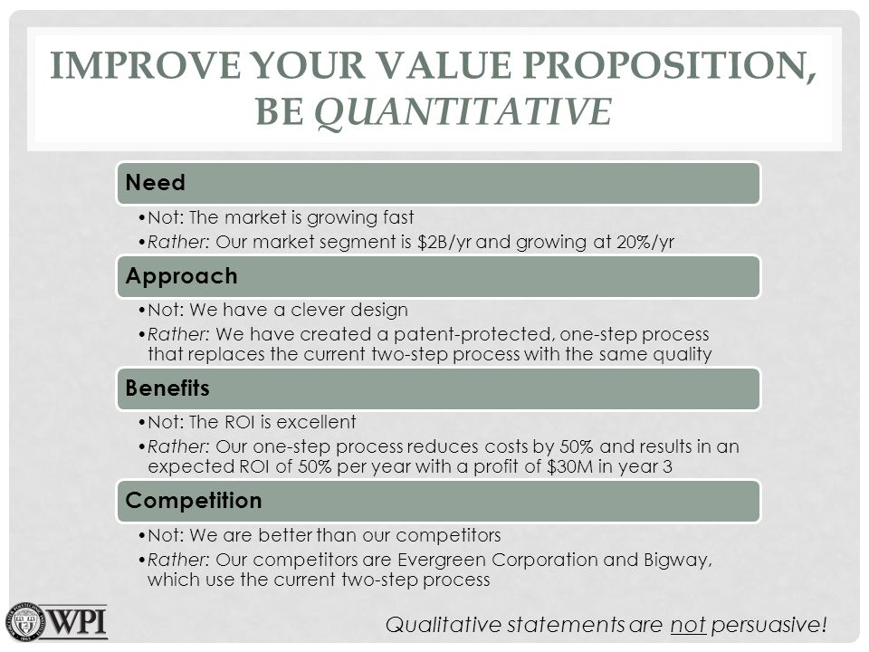 IMPROVE YOUR VALUE PROPOSITION, BE QUANTITATIVE Need Not: The market is growing fast Rather: Our market segment is $2B/yr and growing at 20%/yr Approach Not: We have a clever design Rather: We have created a patent-protected, one-step process that replaces the current two-step process with the same quality Benefits Not: The ROI is excellent Rather: Our one-step process reduces costs by 50% and results in an expected ROI of 50% per year with a profit of $30M in year 3 Competition Not: We are better than our competitors Rather: Our competitors are Evergreen Corporation and Bigway, which use the current two-step process Qualitative statements are not persuasive!