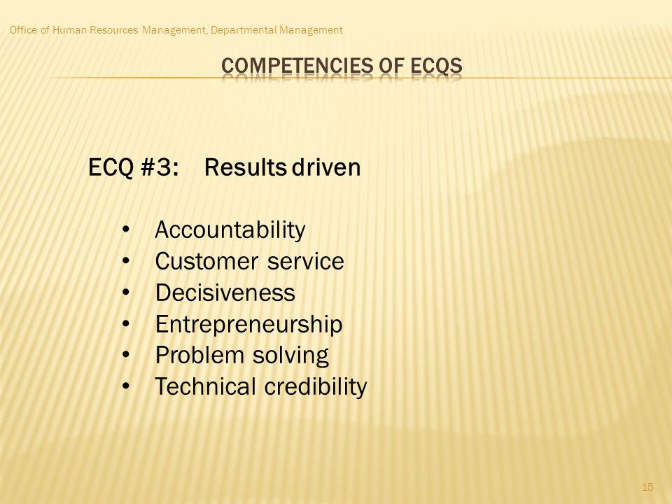 Office of Human Resources Management, Departmental Management ECQ #3: Results driven Accountability Customer service Decisiveness Entrepreneurship Pro