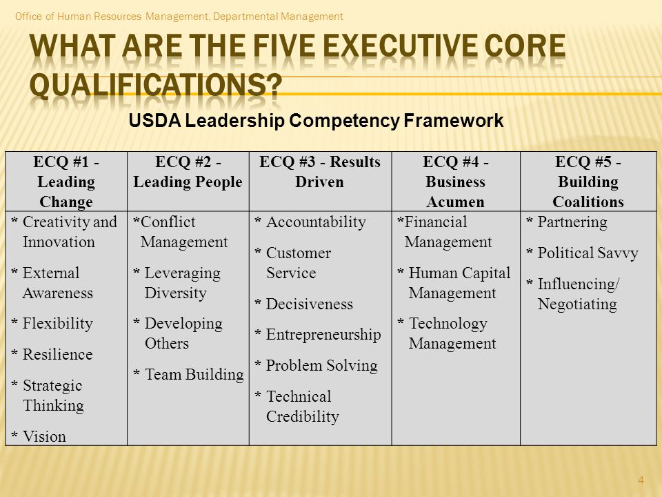 ECQ #1 - Leading Change ECQ #2 - Leading People ECQ #3 - Results Driven ECQ #4 - Business Acumen ECQ #5 - Building Coalitions * Creativity and Innovat