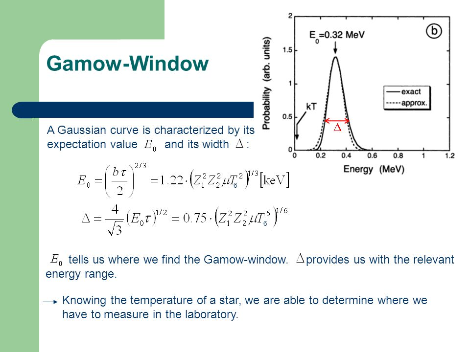 Gamow-Window A Gaussian curve is characterized by its expectation value and its width : tells us where we find the Gamow-window. provides us with the