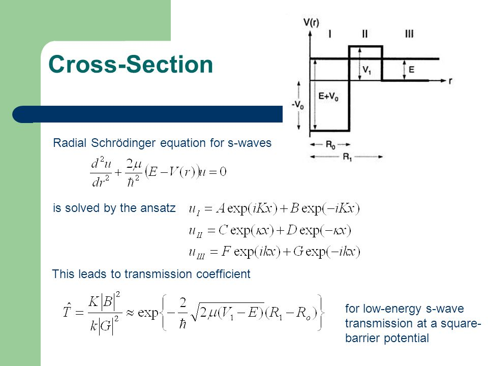 Cross-Section Radial Schrödinger equation for s-waves is solved by the ansatz This leads to transmission coefficient for low-energy s-wave transmissio