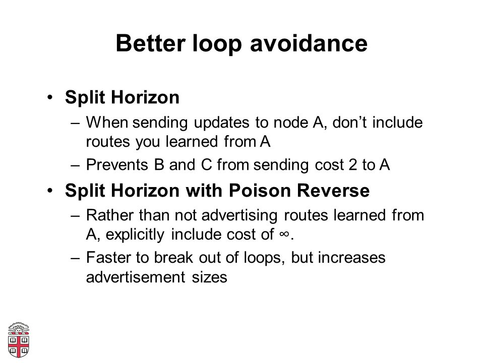 Better loop avoidance Split Horizon –When sending updates to node A, dont include routes you learned from A –Prevents B and C from sending cost 2 to A Split Horizon with Poison Reverse –Rather than not advertising routes learned from A, explicitly include cost of.