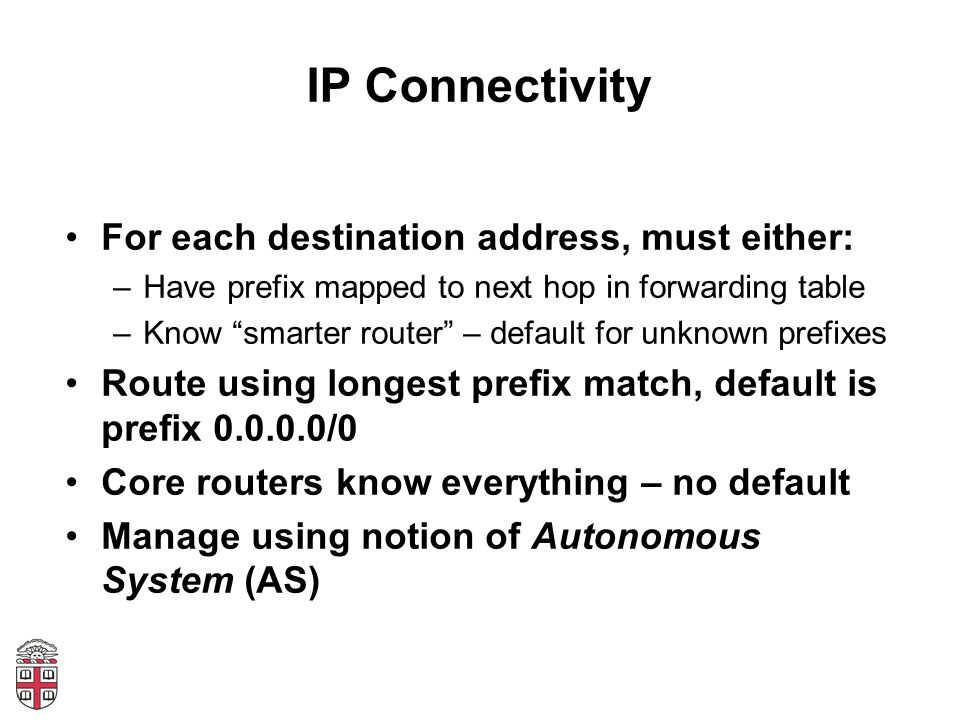 IP Connectivity For each destination address, must either: –Have prefix mapped to next hop in forwarding table –Know smarter router – default for unknown prefixes Route using longest prefix match, default is prefix 0.0.0.0/0 Core routers know everything – no default Manage using notion of Autonomous System (AS)