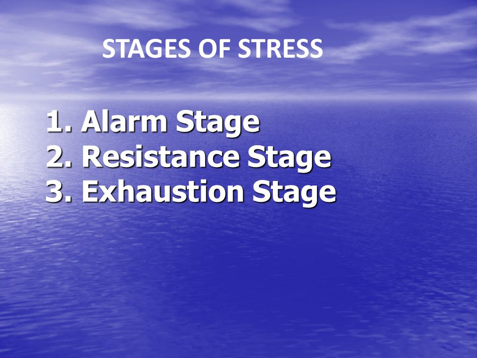 1. Alarm Stage 2. Resistance Stage 3. Exhaustion Stage STAGES OF STRESS