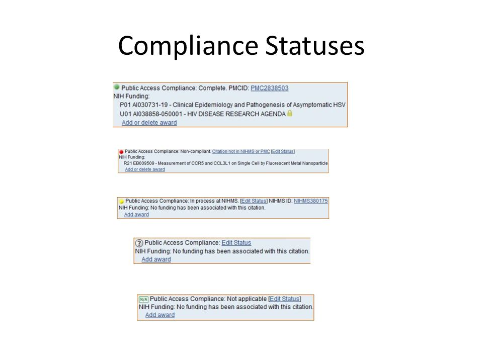 Compliance Statuses