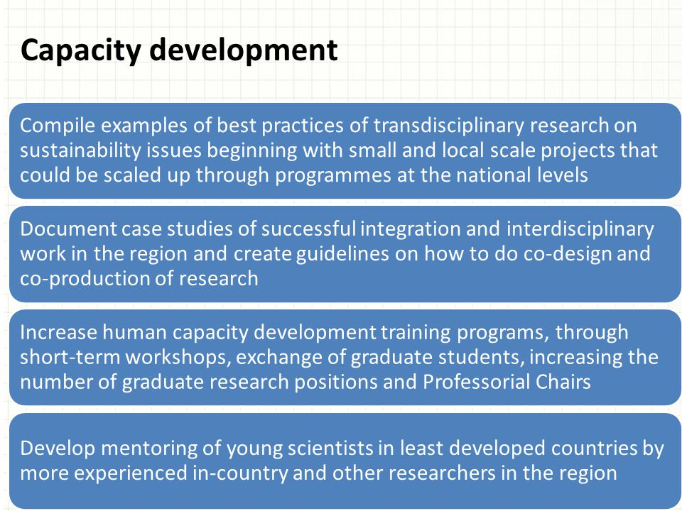 Compile examples of best practices of transdisciplinary research on sustainability issues beginning with small and local scale projects that could be