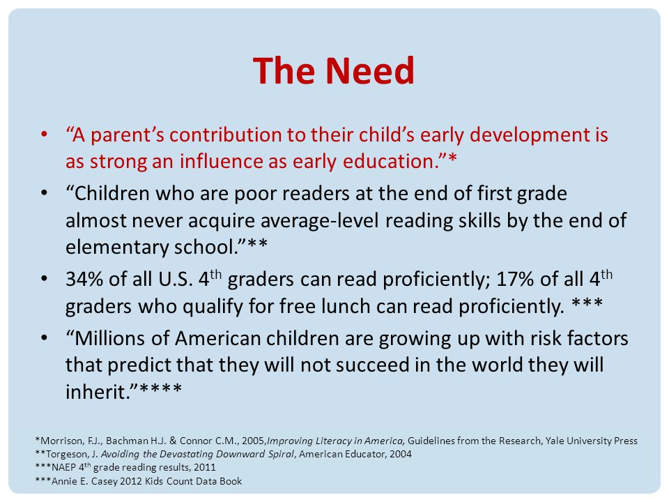 The Need A parents contribution to their childs early development is as strong an influence as early education.* Children who are poor readers at the