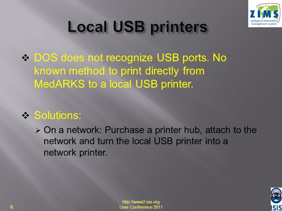 Solutions: Make the local USB printer a shared network printer and print to that printer from other workstations (still cannot print from the workstation to which the printer is attached).