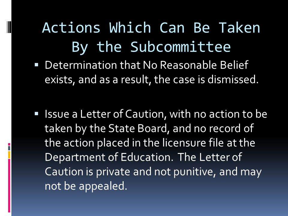 Actions Which Can Be Taken By the Subcommittee Determination that No Reasonable Belief exists, and as a result, the case is dismissed. Issue a Letter
