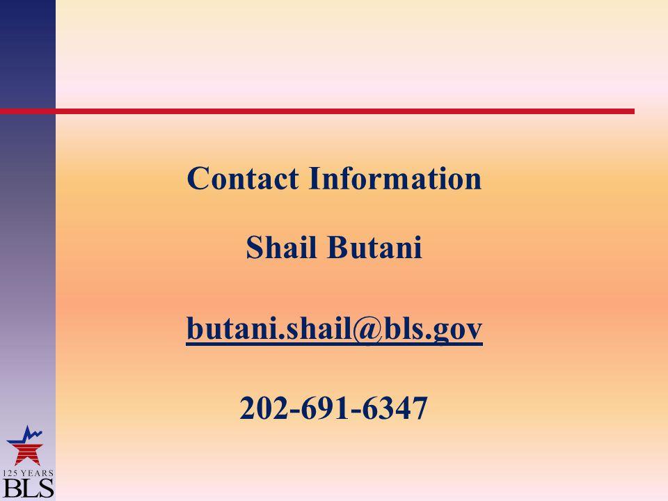 Contact Information Shail Butani butani.shail@bls.gov 202-691-6347