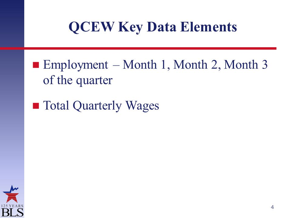 QCEW Key Data Elements Employment – Month 1, Month 2, Month 3 of the quarter Total Quarterly Wages 4
