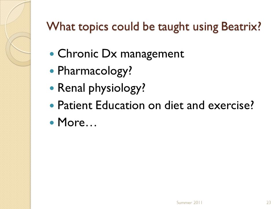 What topics could be taught using Beatrix. Chronic Dx management Pharmacology.