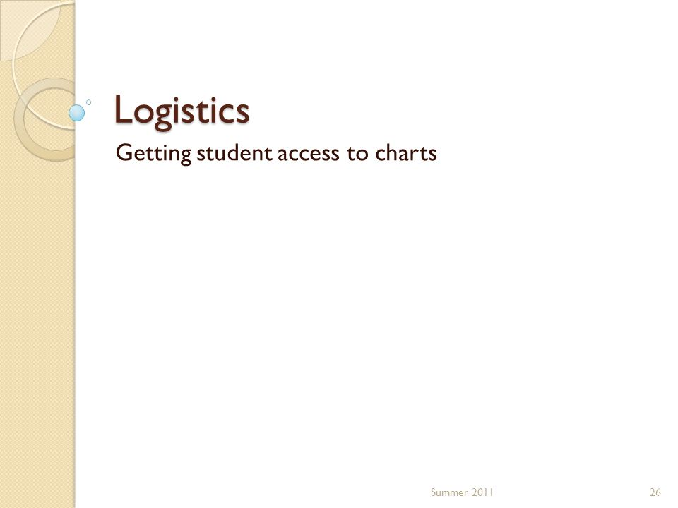 Logistics Getting student access to charts 26Summer 2011
