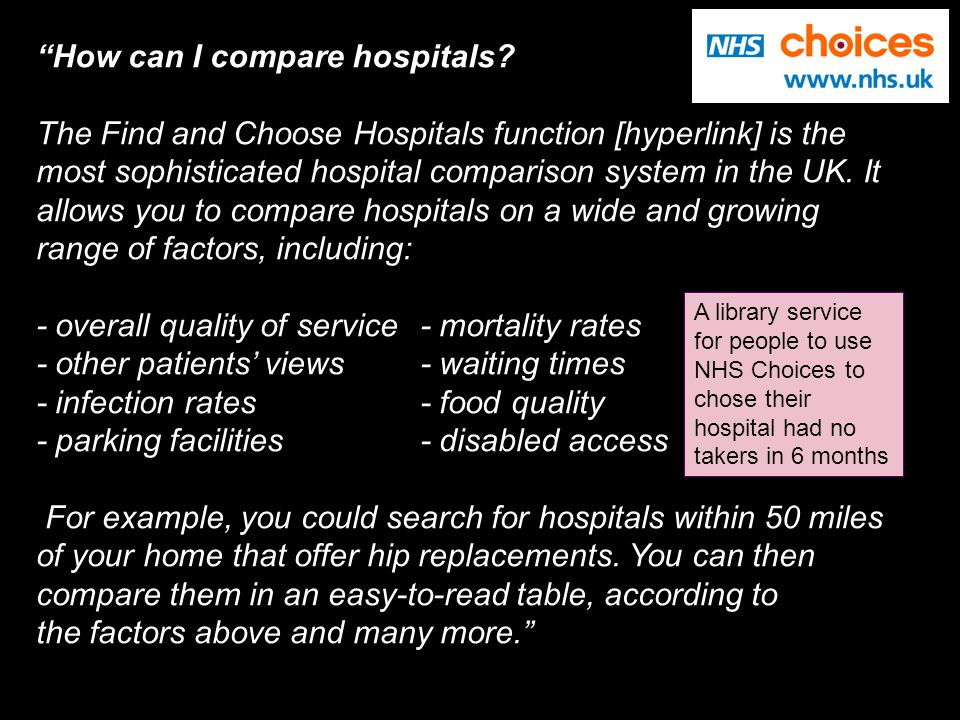 How can I compare hospitals.