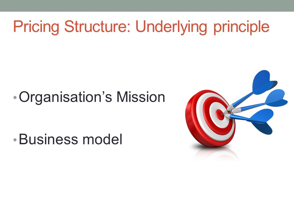 Pricing Structure: Underlying principle Organisations Mission Business model