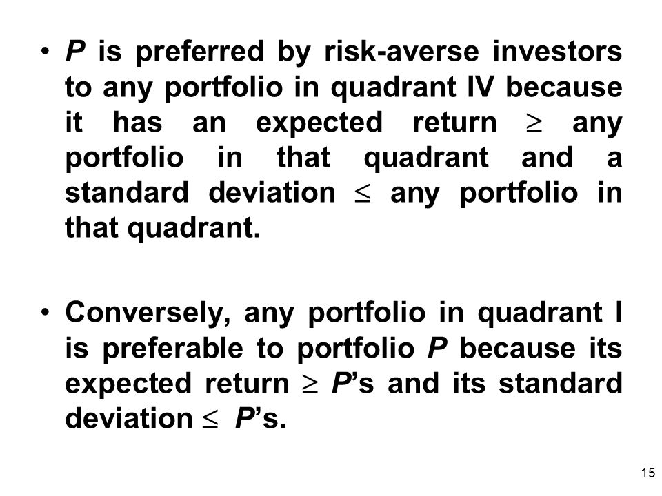 15 P is preferred by risk-averse investors to any portfolio in quadrant IV because it has an expected return any portfolio in that quadrant and a standard deviation any portfolio in that quadrant.