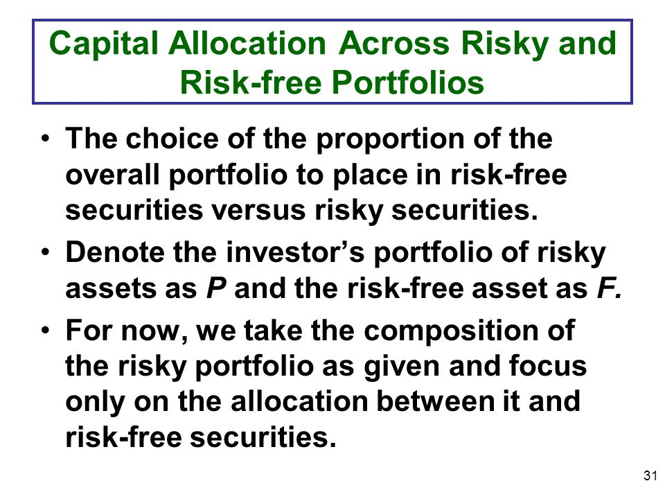 31 Capital Allocation Across Risky and Risk-free Portfolios The choice of the proportion of the overall portfolio to place in risk-free securities versus risky securities.