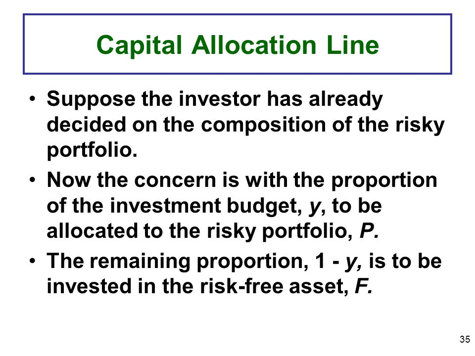 35 Capital Allocation Line Suppose the investor has already decided on the composition of the risky portfolio.