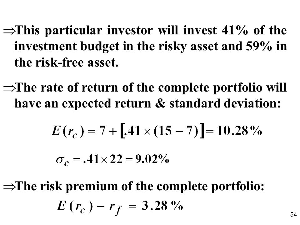 54 This particular investor will invest 41% of the investment budget in the risky asset and 59% in the risk-free asset.