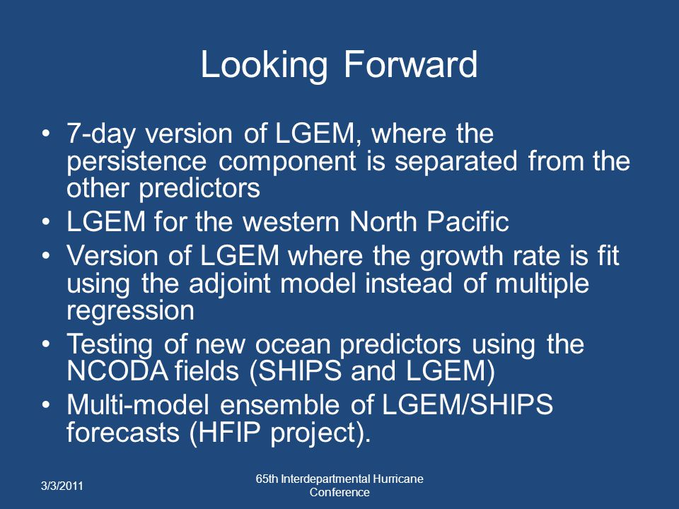 Looking Forward 7-day version of LGEM, where the persistence component is separated from the other predictors LGEM for the western North Pacific Versi