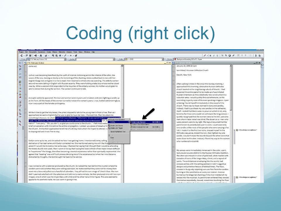 Coding (right click)