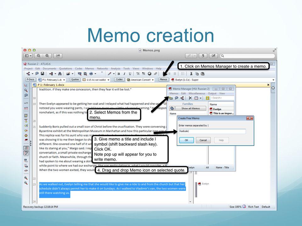 Memo creation