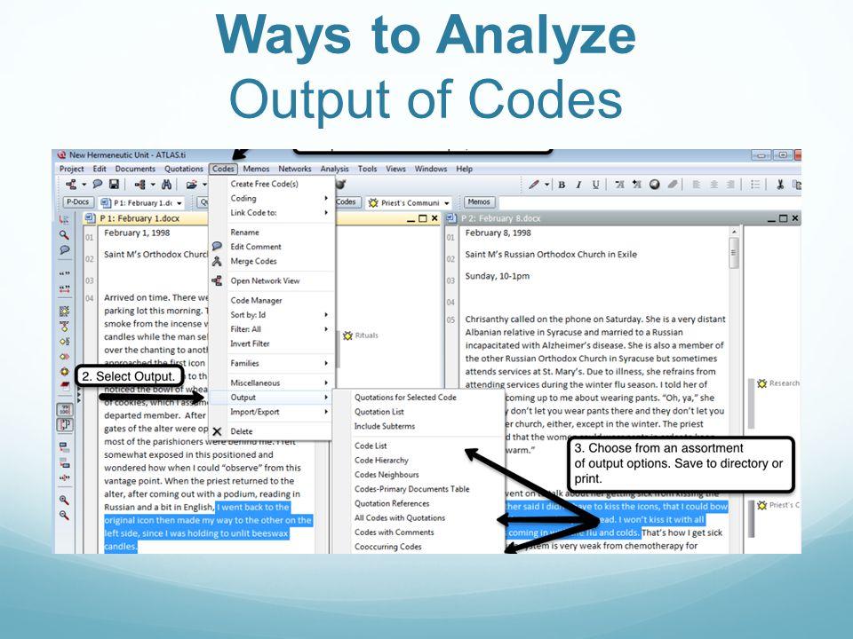 Ways to Analyze Output of Codes