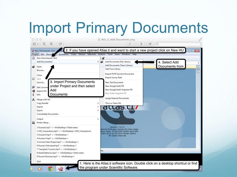 Import Primary Documents